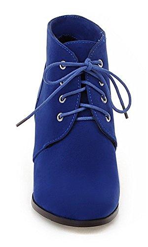 ... YE Damen High Heel Wildleder stiefeletten mit Keilabsatz Herbst Winter  Schnürung Ankle Boots Blau ...