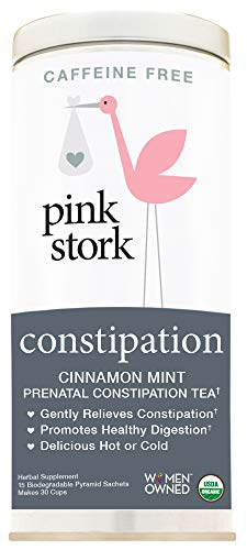 (Pink Stork Constipation: Cinnamon Mint Prenatal Constipation Relief Tea, USDA Organic Loose Leaf Herbs in Biodegradable Pyramid Tea Bags, Support Digestion, Relieve Discomfort -30 Cups, Caffeine)