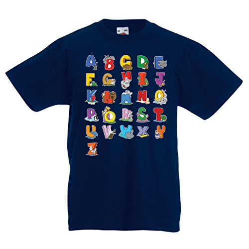 Funny t Shirts For Kids Alphabet t Shirt Animal ABC Design For Kids Alphabet, Learning ABC, Alphabet Letters,ABC Song (14-15 Years Dark Blue Multi - Certificates Gift Walgreens
