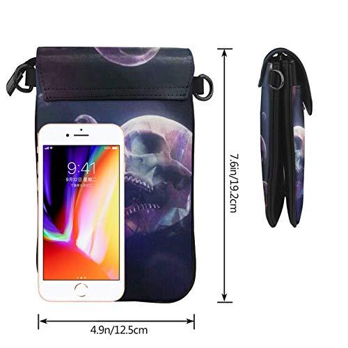 HYJUK Mobiltelefon crossbody väska skalle bubblor kvinnor PU-läder mode handväska med justerbar rem
