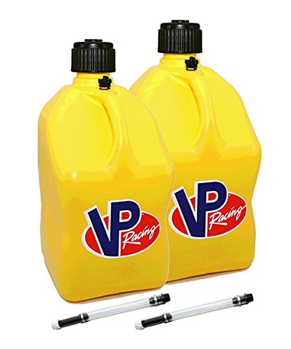 2 Pack VP 5 Gallon Square Yellow Racing Utility Jugs with 2 Deluxe Filler - Cross Yellow Square