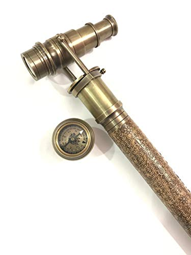 (Handmade Brass Hidden Telescope Walking Stick Leather Engraved Canes with Compass on Top)