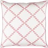 22'' Cotton White and Bubble Gum Pink Linen Decorative Throw Pillow- Down Filler