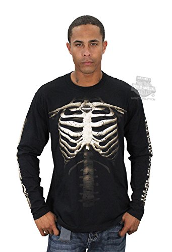 Rib Cage Bones - Harley-Davidson Mens Them Bones Rib Cage with B&S Black Long Sleeve T-Shirt - LG