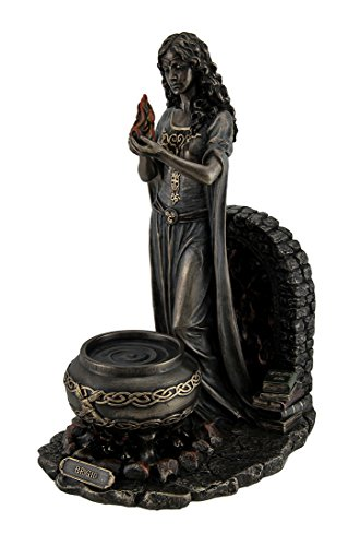 Stand Statue - Resin Statues Brigid Goddess Of Hearth & Home Standing Holding Sacred Flame Statue 7 X 9.5 X 5.5 Inches Bronze