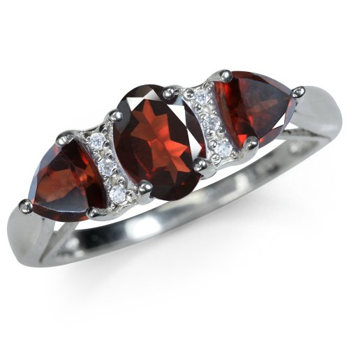 Natural Garnet & White Topaz 925 Sterling Silver Classic Ring Size 10