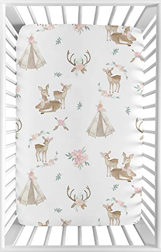Sweet Jojo Designs Blush Pink, Mint Green and White Boho Baby Girl Fitted Mini Portable Crib Sheet for Woodland Deer Floral Collection - for Mini Crib or Pack and Play ONLY ()