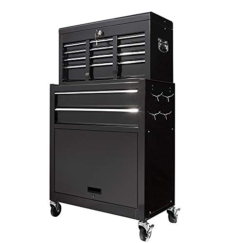 2Pcs Tool Storage Box Portable Top Chest Rolling Tool Box Organizer Sliding Drawers Cabinet Keyed Locking System Toolbox Black by Suny Deals (Image #2)