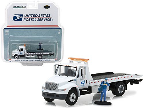 2013 International Flatbed Durastar Tow Truck USPS with Mailman Figure HD Trucks Series 11, 1/64 Diecast Model by GreenLight 33110B by Greenlight