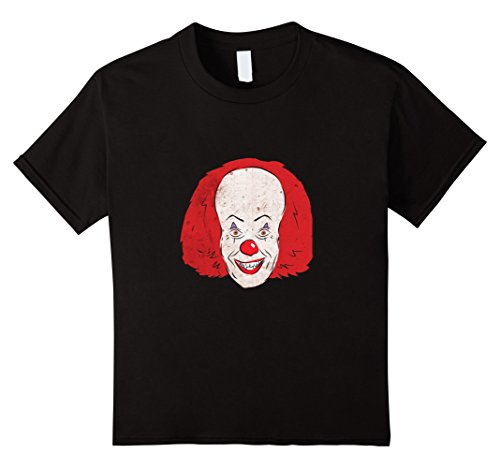 Scary Clown Clothes (Kids Scary Clown Face Red Hair and Nose T-shirt 10 Black)