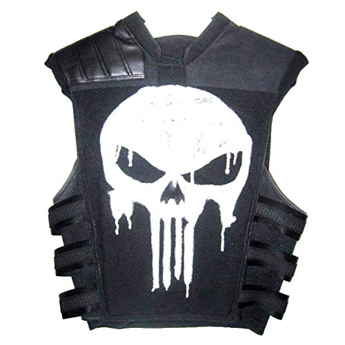 Marche Sydney - Punisher Frank Castle War Zone Thomas Jane Tactical Real Leather Vest (L) Black -
