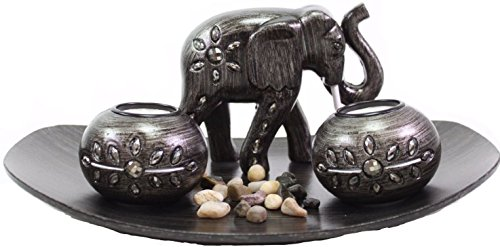 Tabletop Incense Burner Gifts & Decor Zen Thai Elephant w/ Light Candle ~ USA SELLER!! (Thai Elephant G16290)