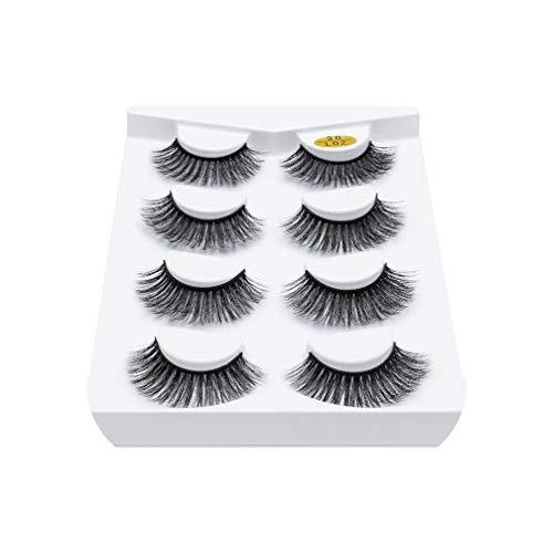 2/4 Pair Natural long Mink Eyelashes 3D Mink Lashes Thick HandMade Full Strip Lashes Volume Soft Mink Lashes False Eyelashes,3DL02