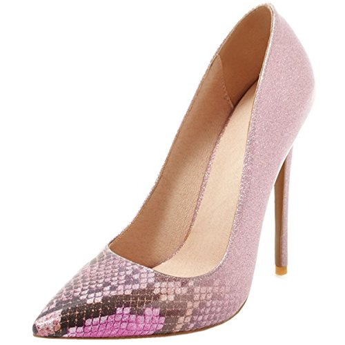 Rongzhi Womens Sexy Pumps Snake Print High Heels Silp On Pointed Toe Stilettos Dress Party Shoes Plus