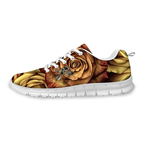 FOR Sneaker Walking Women's Vintage Brown Fashion Print U Running DESIGNS D Floral Rose Comfortable Shoes ZnwUxFrnR8