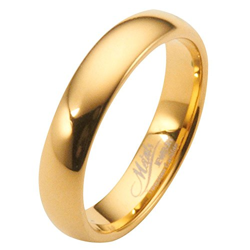 6MM Gold Plated Polished Tungsten Carbide Wedding Ring Classic Half Dome Band Size 10