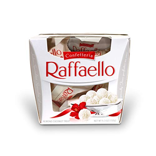 Ferrero Raffaello Almond Coconut Candy, 15 Count, Pack of 6 Individually Wrapped Candy Gift Boxes for Valentines Day, 5.3 oz