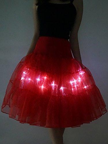 Ballet Tutu Jupon Tulle Femme Lumire HENCY Noir jupe Danse Femme Mini LED Tutu Jupe Soire 7tIqx0a