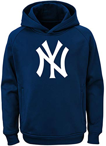Team Kids Color Mlb - Outerstuff MLB Kids 4-7 Team Color Polyester Performance Primary Logo Pullover Sweatshirt Hoodie (5/6, New York Yankees)