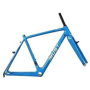 IMUST Carbon Fiber Cyclocross Bike Frame with Fork V brake Blue