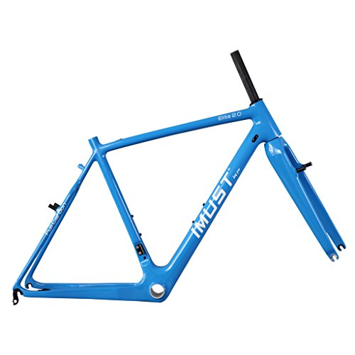 IMUST Carbon Fiber Cyclocross Bike Frame with Fork V brake Blue