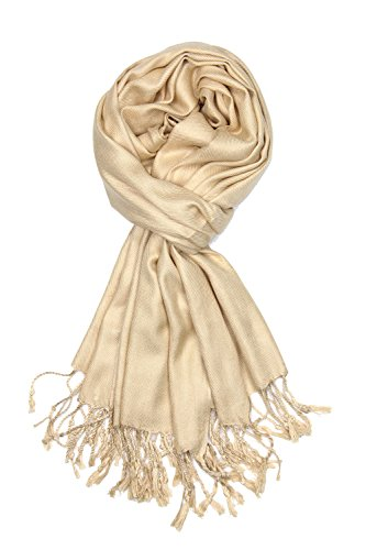 Achillea Large Soft Silky Pashmina Shawl Wrap Scarf in Solid Colors (Champagne) (Best Indian Nude Girls)