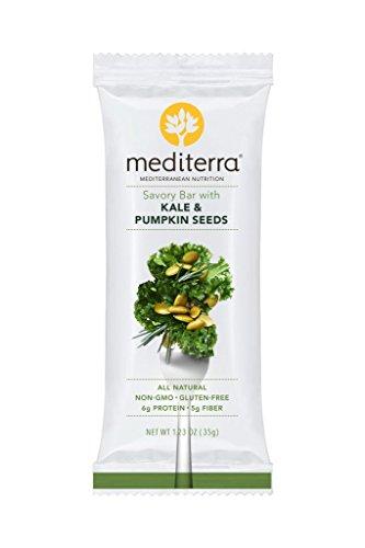 Mediterra Gluten-Free Savory Nutritional Bars, Kale & Pumpkin Seeds,1.23 Ounce (Pack of 12) Savory Bar