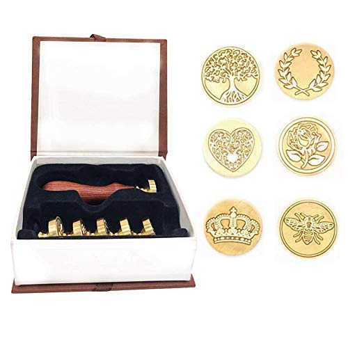 Wax Seal Stamp Set, Uiuix 6 Pieces Sealing Wax Stamp Kit Copper Seals with 1 Wooden Hilt, Great for Cards Envelopes, Invitations, Wine - Stamp 1 Wooden