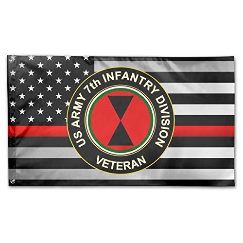 US Army 7th Infantry Division Veteran Thin Red Line Flag 100% Polyester House Flag Decorative Garden Flag Yard Banner Garden Flags 3x5
