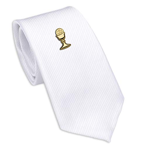 Boys First Communion Tie White Striped and Gold-Tone Chalice Tie Pin, ()