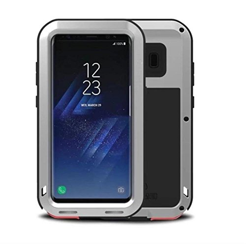 Samsung Galaxy S8 Plus Metallic Case, TopZone Heavy Duty 360 Degree Full Body Protection Shockproof Snow-proof Aluminum Iron Rugged Tough Bumper Cover (Silver) ()