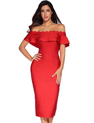 Strapless The Shoulder Meilun Off Dress Women's Bodycon Bandage Dress Red Party S6qAaIWA