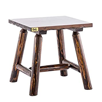 Wood Rustic Outdoor Side Table Heavy Duty Patio End Table for Rocking Lounge Chairs Bistro Table for Porch Backyard Side Table