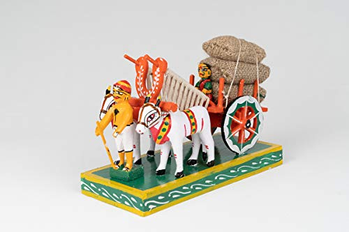Craftsfair Wooden Kondapalli Bullock Cart (Multicolour)