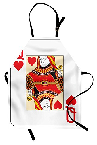 Ambesonne Queen Apron, Queen of Hearts Playing Card Casino Design Gambling Game Poker Blackjack, Unisex Kitchen Bib Apron with Adjustable Neck for Cooking Baking Gardening, Vermilion Yellow White -