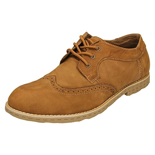 Herren Tan Casual Smart Maverick Beige Brogue Schuhe Dark A4rAqgw
