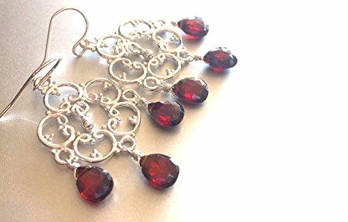 Black Cherry Cubic Zirconia Boho Chandelier Sterling Silver Earrings, style: Countryside, Handmade earrings, red