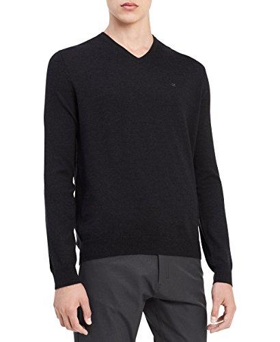 Calvin Klein Men's Merino Solid V-Neck Sweater, Dusty Black, Large