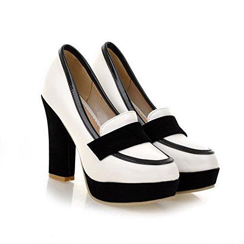 VogueZone009 Damen Gemischte Farbe Weiches Material Hoher Absatz Ziehen auf Zehe Pumps Schuhe Weiß