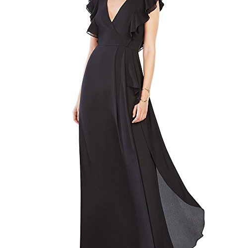 BCBGMAXAZRIA BCBG Max Azria Flutter Sleeve Women's Evening Gown Black 2