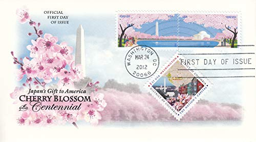 Cherry Blossoms Centennial, Washington Monument, Jefferson Memorial Collectible ArtCraft First Day Cover Stamp Cachet FDC 4651-4652