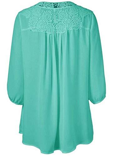 V lgant Cou Manches Dentelle Large Femme Longues Tee Manche Fashion Longue Blouse Green Unicolore avec Huixin Costume Chic Shirt Haut Light Automne Confortable Shirt Printemps Doux aHqAx0Tw
