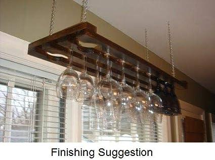 Amazoncom Tlc Woodworks Wooden Hanging Wine Glass Rack 3 Row 32