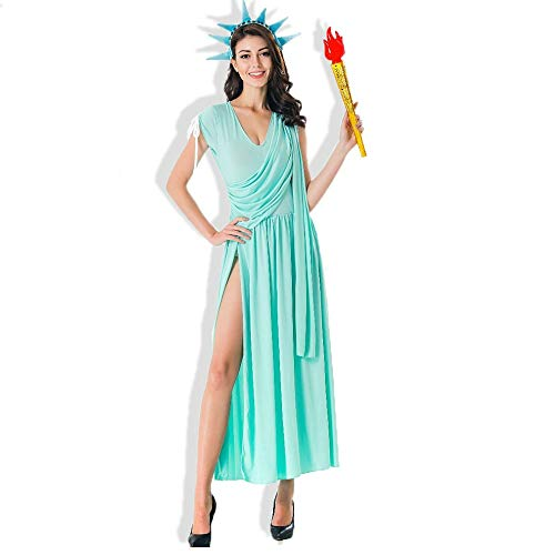 (Carnival Party Halloween Costumes Blue Sexy Statue of Liberty Costume Goddess Cosplay Fancy Dress for)