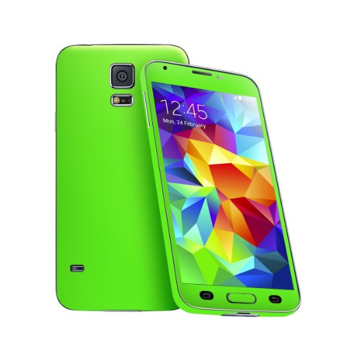 Cruzerlite Neon Skin for the Samsung Galaxy S5 - Retail Packaging - Fluorescent Green (Full Kit - Back,Front,Sides)