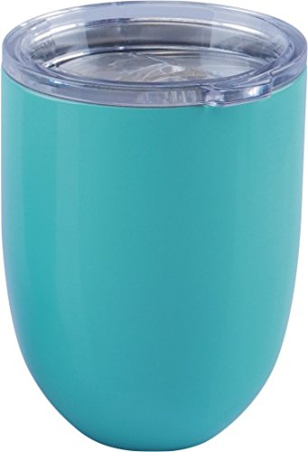 ICICLE 10oz Double Wall Vacuum Insulated Stemless Stainless Steel Lowball Wine Glass Tumbler with Spill Proof & Slide Lock Lid – BPA Free