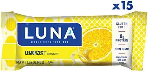 LUNA BAR - Gluten Free Bar - Lemon Zest Flavor - (1.69 Ounce Snack Bar, 15 Count)