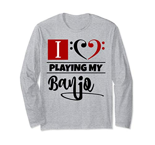 Double Black Red Bass Clef Heart I Love Playing My Banjo Unisex Long Sleeve Shirt