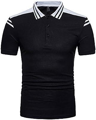 f23b9ecb2d LuckyGirls Camisetas Hombre Manga Corta Originales Rayas Patchwork Camisa  Gimnasio Deporte Cuello Abierto Casual Fitness Remera (Negro
