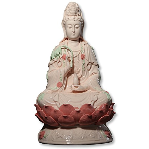 ICNBUYS Vintage Guanyin Buddha Statues with Willow Porcelain Pink Meditation Sitting on Lotus Home Decoration Height 16